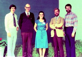 J. Lawton Smith, M.D., with four of his fellows at the Neuro-Ophthalmology Symposium in Key Biscayne on December 8, 1980.  From left to righ
